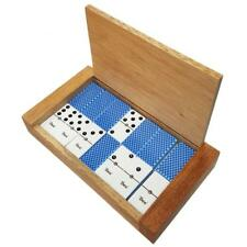 Domino Double Six White Blue Bee Card Back Spinner s Deluxe Wood Case
