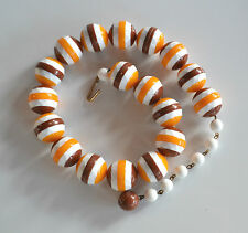 plastic necklace white yellow brown rare vintage Germany sliced faceted bead
