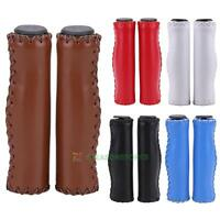 1Pair Soft Foam Leather Mountain Bike Bicycle Cycling Handle Bar Grips Anti-Slip