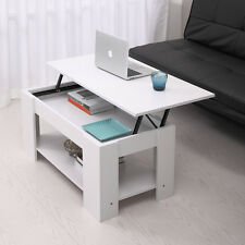 Coffee Table with Lift top with Storage Living Room Modern Furniture White Wood