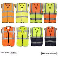 High Visibility Safety Vests Hi Vis Viz Yellow Orange Reflective Work Waistcoat