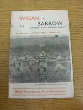 18/11/1961 Rugby League Programme: Wigan v Barrow  (Score Inside). Thanks for ta