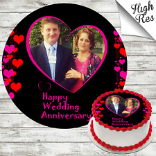WEDDING ANNIVERSARY EDIBLE ROUND CAKE TOPPER DECORATION PERSONALISED