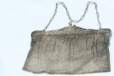 VICTORIAN ANTIQUE STERLING SILVER MESH EVENING BAG PURSE 8.2 OZ