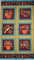 """23"""" Fabric Panel - Floral Fancies Bird Garden Flower Pot Blocks - Benartex"""