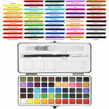 Professional 50 Colors Watercolor Paint Draw Painting Water Brush Pigments Set