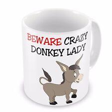 Beware Crazy DONKEY Lady Funny Novelty Gift Mug