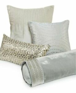 """Hotel Collection Finest Silver Leaf 7.5"""" x 24"""" Silk Blend Decorative Pillow"""