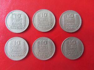LOT de 6 pièces 10 francs TURIN (toutes différentes)