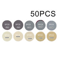 50PCS 3inch Wet Or Dry Sandpaper Hook And Loop Silicon Carbide Sanding Discs New