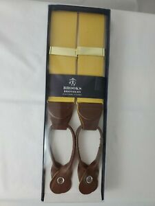Brook's Brothers Mens Gold Suspenders w/Brown Leather Tabs - NEW BOX & FREE SHIP