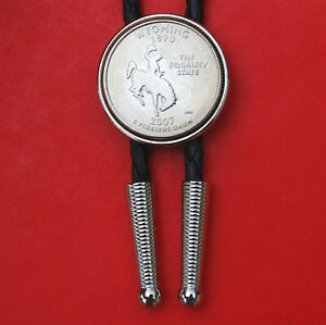 """US 2007 Wyoming State Quarter Coin Simple Silver Slide 36"""" Cord Bolo Tie"""