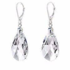 Damen Ohrringe Hänger 925 Sterling Silber mit Swarovski Kristallen 22 mm Klar
