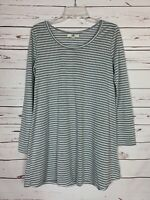 Boutique Ya Los Angeles Women's M Medium White Gray Striped Cute Tunic Top Shirt