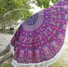Hippie Round Mandala Tapestry Indian Wall Hanging Beach Throw Yoga Mat Purple
