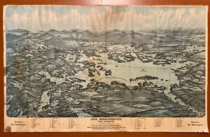 Vtg 1925 Lake Winnipesaukee Bird's Eye View Map Mt Washington Steamer Avertising
