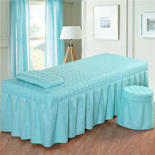 "Massage Table Skirt Sheet Pillowcase Stool Cover Beauty Linen 73x28"" Blue_1"