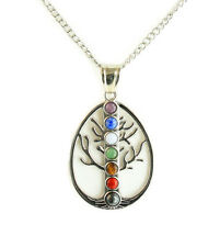 """Natural Stone Chakra Pendant Necklace comes with 18"""" Cable Chain and 3"""" Extender"""