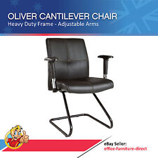 Office Chair Cantilever with Arms, Heavy Duty Black Visitor Meeting Chairs Metal