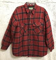 OZARK TRAIL Men's sz L  Plaided Jacket Button Front Shirt Red/Black Long Sleeves