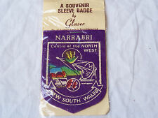 VINTAGE NARRABRI NSW CENTRE OF THE NORTH WEST PATCH SOUVENIR CLOTH SLEEVE BADGE