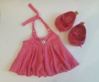 Build a Bear Pink Dress with Rhinestones and Pink Shoes