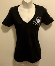 EUC Rockabilly Pinup Bettie Page Store Hollywood Black Baby Tee T-Shirt S