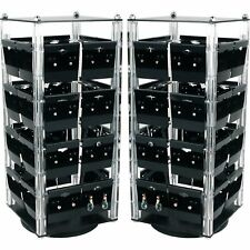 2 Acrylic Rotating Earring Display Stands Revolving With 100 Cards