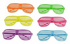 80s Shutter Shade Sunglasses Party Supplies Fluorescent 6 Colors Costumes 2 PACK