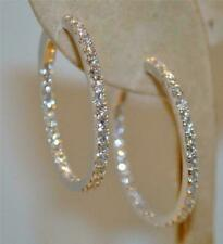 2 CT Round Brilliant Cut Diamond 14k Solid White Gold Over Wedding Hoop Earrings