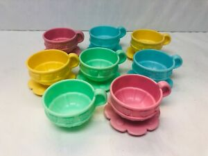 Play Dishes Tea Cups and Saucers Cute Mattel 2000 Pastel Colors Pretend Play