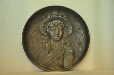 Victorian Decorative Cast Iron Plate Featuring a Woman's Portrait,Copyright 1885
