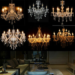 Lustre en Cristal Verre Plafonnier a Pampilles Lampe Chandelier Ancien Art Deco