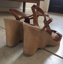 Vintage 1970s Famalore Hi-Up Platform Leather Strappy Sandal Italy Heel Size 10
