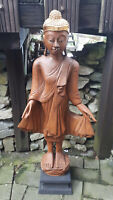 handgefertigt 87cm Holz Buddha Mönch Buddhismus Feng Shui REDUZIERT 199,-