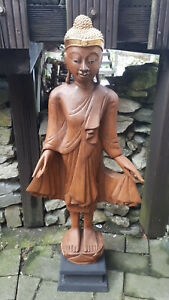 14cm Holz Buddha sitzend handgeschnitzt feng shui