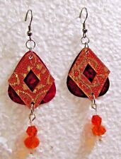 Art Deco Triangle on Red Background w Crystals Custom Made Dangle Wire Earrings
