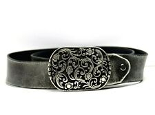 Vintage Handmade Real Leather Belt Grey Size 36