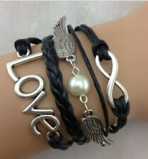 NEW Infinity Love Wing Pearl Leather Charm Bracelet plated Silver DIY  !!!!!!
