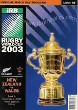 La Nouvelle Zélande V Pays de Galles Coupe du Monde de Rugby 2003 PROGRAMME