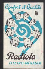 "FER à REPASSER , RASOIR & APPAREILS MENAGER ""RADIOLA"" Tract Publicité vers 1960"