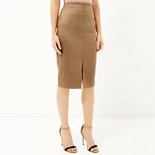 RIVER ISLAND Faux Suede Midi Skirt Khaki Brown Front Slit Stretch UK 12 US 8
