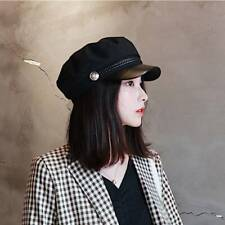 Womens Flat Cap Fiddler Hat Military Cadet Cap Newsboy Beret Sailor Cap J