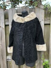 1960's Vintage Womens Fur Collar And Cuff Links Short Jacket