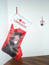 Black Labrador Christmas Stocking I Love My Labrador Holiday Time & Lab Bulb