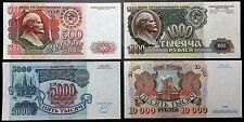 RUSSIA: Set of 4x 1992 Notes - 500 1000 5000 10,000 Rubles P-249 250 252 253 UNC