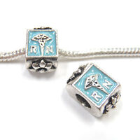 3 Beads - Registered Nurse RN Blue Enamel Silver European Bead Charm E1174