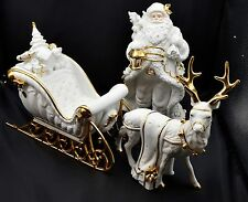 Traditions Porcelain Santa with Sleigh and Reindeer White w/ Gold Accents EUC