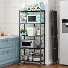 5-Tier Storage Rack Shelf With Wheel Folding For Living Room Bedroom Kitchen