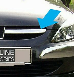 Chrome Front Grille Accents Trim Set Covers 2Pc To Fit Peugeot 307 (2001-05)
